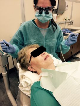 Dr. Emily Swanson working on a patient