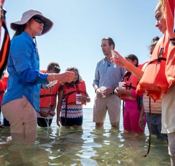 Phillipe Cousteau Jr working with kids