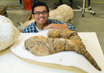Gabriel with a fossilized foot