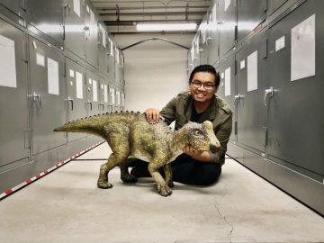 Gabriel with a dinosaur